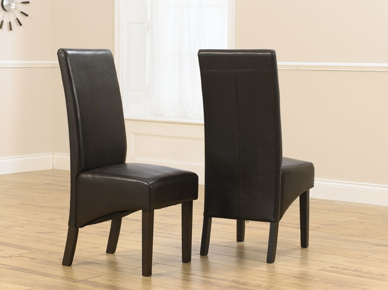 Chic Faux Leather Dining Chairs Savanna Dark Oak Dining Chairs With Brown Faux Leather Seats
