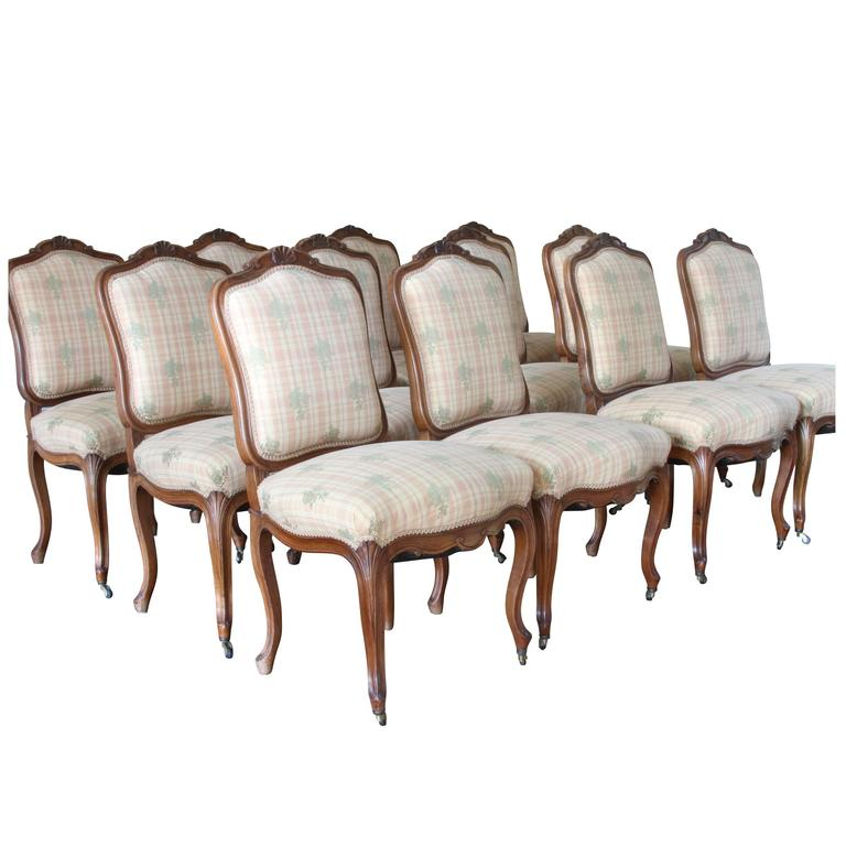Chic French Dining Chairs Set Of 12 Antique French Carved Fruitwood Dining Chairs At 1stdibs