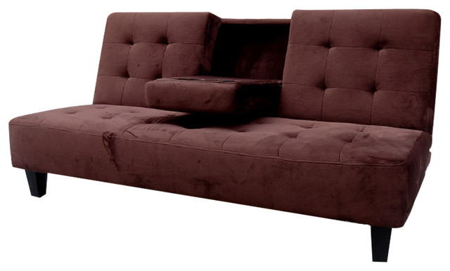 Chic Futon Sleeper Sofa Bed Madrid Futon Sofa Bed With Drop Down Cup Holder Transitional