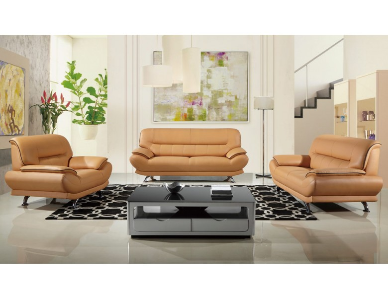 Chic Genuine Leather Sofa Set Bella Modern Genuine Leather Sofa