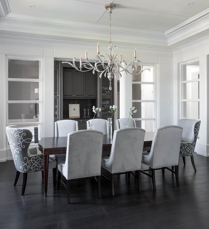 Chic Gray Dining Room Chairs Dove Gray Velvet Dining Chairs With Curved Dining Table