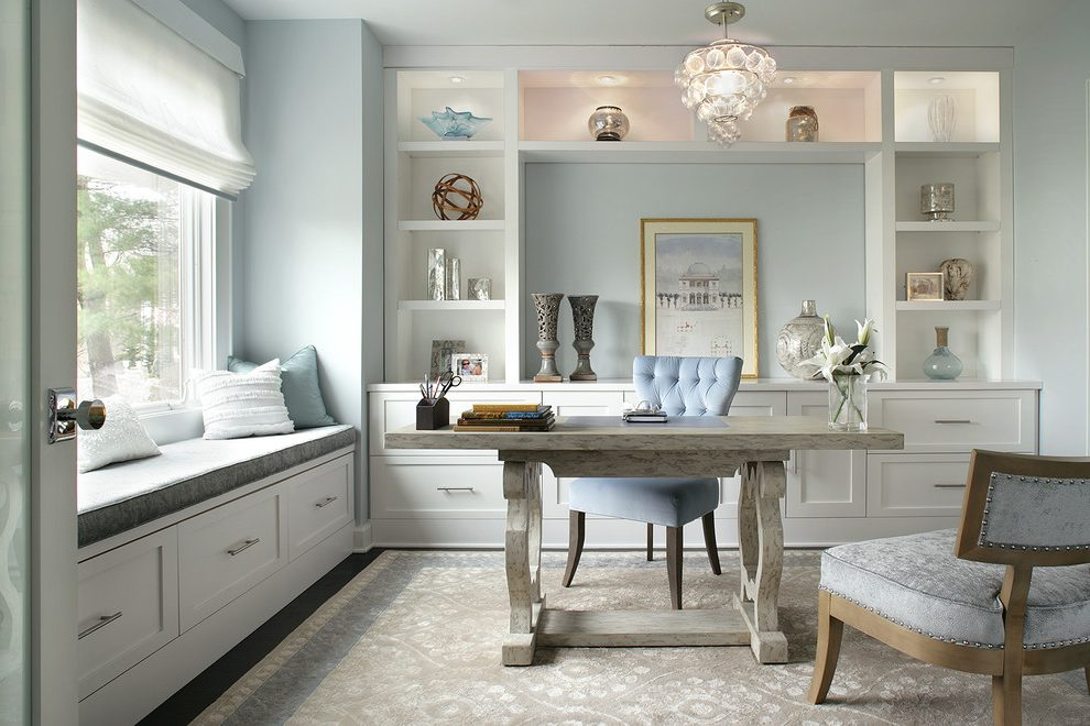 Chic Home Office Seating Modern Booth Seating Home Office Transitional With Silver Hardware