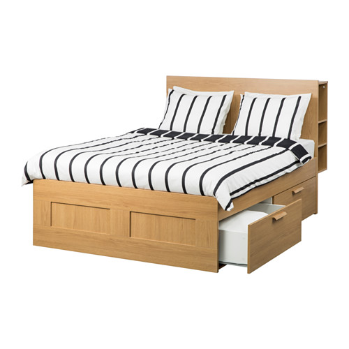 Chic Ikea Double Bed With Drawers Brimnes Bed Frame W Storage And Headboard Oak Effectlury