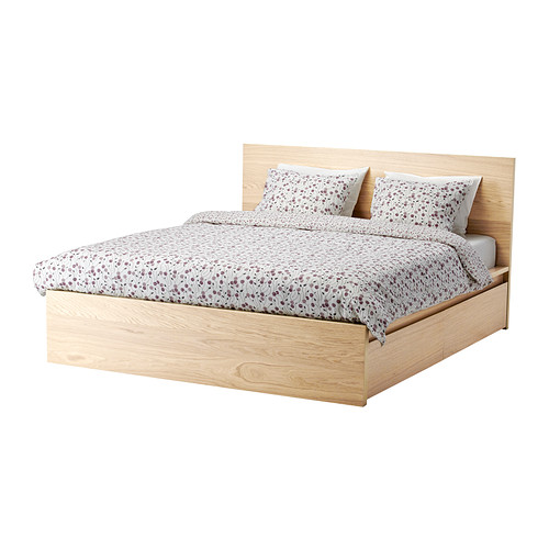 Chic Ikea Double Bed With Drawers Malm Bed Frame High W 4 Storage Boxes White Stained Oak Veneer