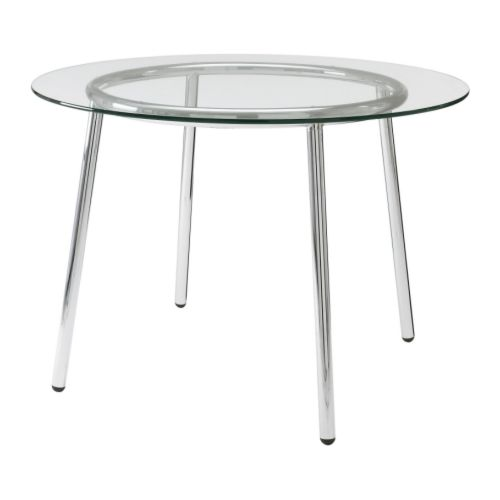 Chic Ikea Glass Dining Table Salmi Table Glasschrome Plated 105 Cm Ikea