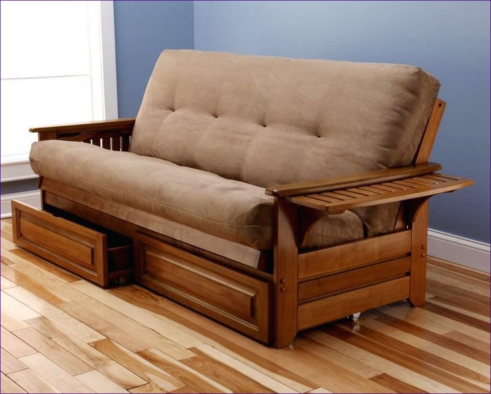 Chic King Size Futon Couch Furniture Marvelous Fold Out Sofa Bed With Storage Wooden Futon