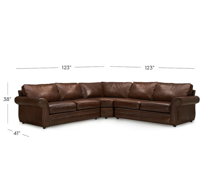 Chic L Shaped Sectional Couch Pearce Leather 3 Piece L Shape Sectional With Wedge Pottery Barn