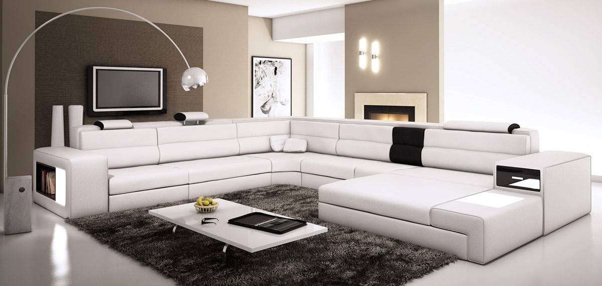 Chic Large Leather Sectional Couch Large U And L Leather Sectionals Corner Modern Design Couch