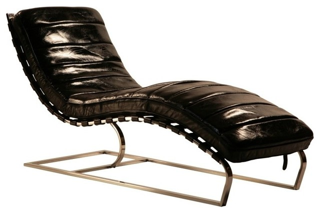 Chic Leather Chaise Lounge Chair Leather Chaise With Iron Midcentury Indoor Chaise Lounge