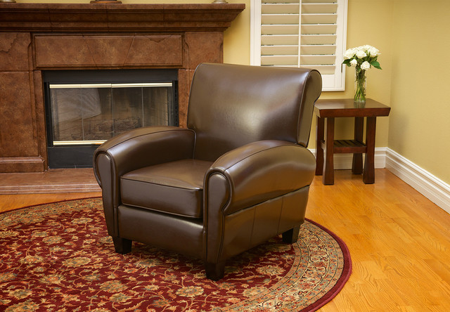 Chic Leather Living Room Chair Ridgemark Chocolate Brown Leather Chair Contemporary Living