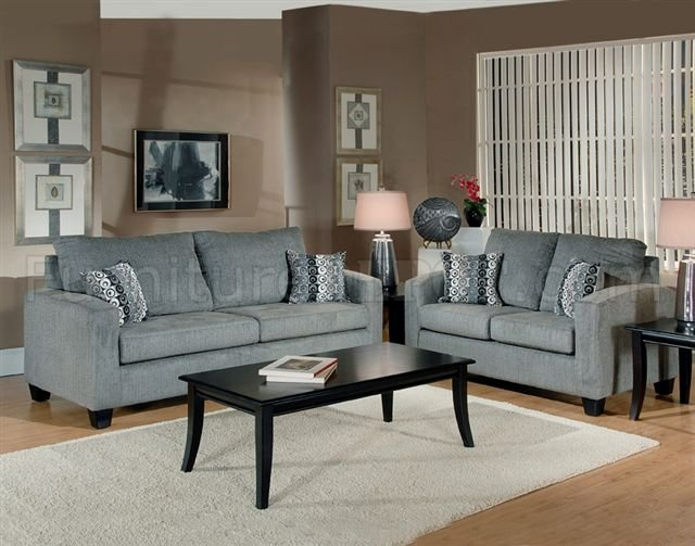 Chic Living Room Sofa And Loveseat Sets Grey Fabric Modern Living Room Sofa Loveseat Set