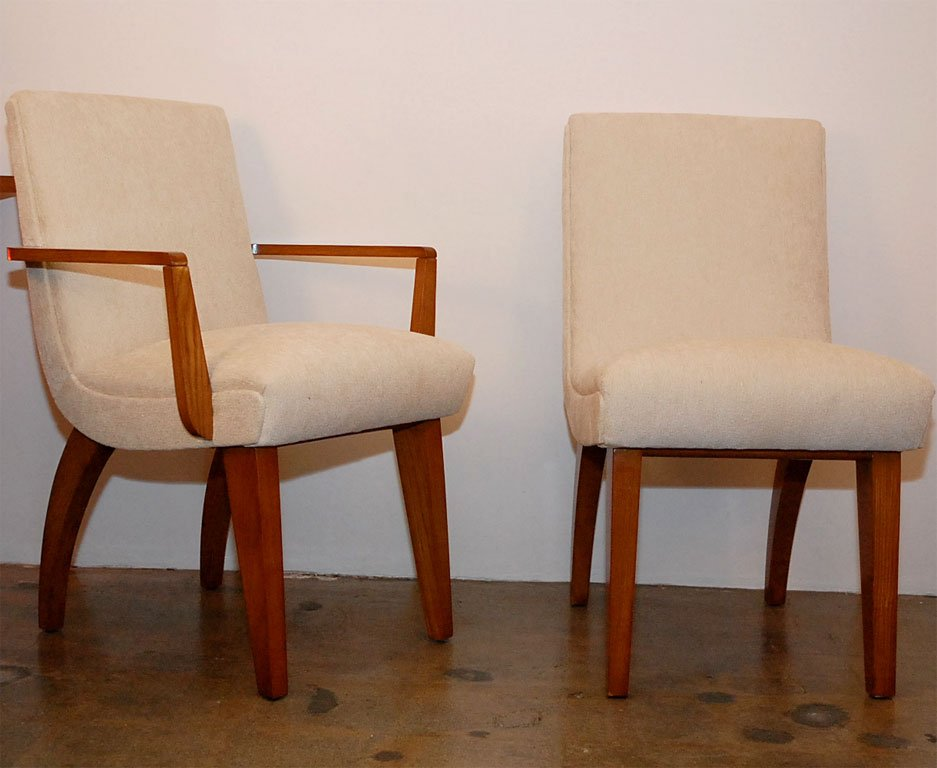 Chic Maple Dining Chairs Set Of 8 Upholstered Dining Chairs With Maple Legs At 1stdibs