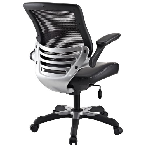Chic Mesh Back Office Chair Lexmod Edge Office Chair With Mesh Back And Black Leatherette Seat