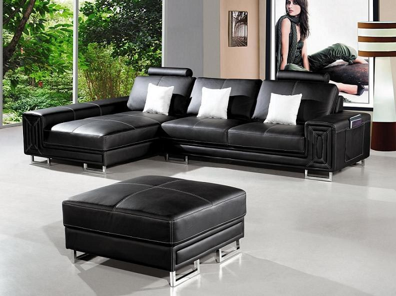 Chic Modern Black Leather Couch Impressive Black Sectional Leather Sofa Modern Black Leather