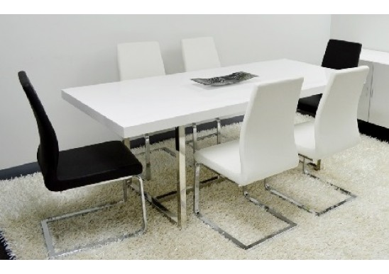 Chic Modern Rectangular Dining Table Enzo White Lacquer Modern Rectangular Dining Table