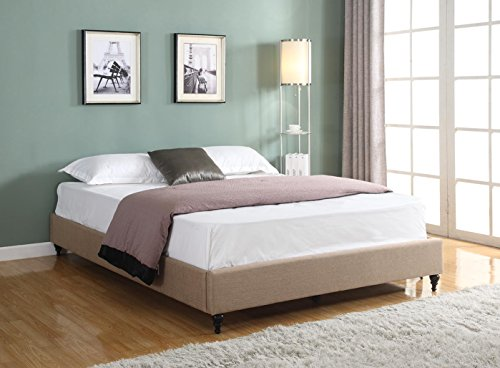 Chic Non Slatted Platform Bed Home Life Cloth Charcoal Linen Chinese Non Headboard Platform Bed