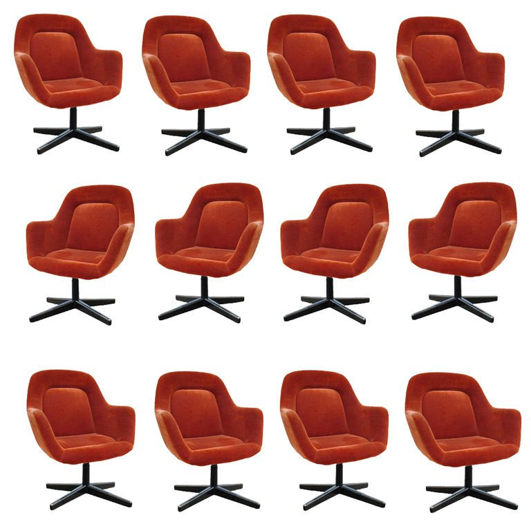 Chic Office Chair Set Vintage Knoll Max Pearson Executive Arm Chairs Set Of 12 At 1stdibs