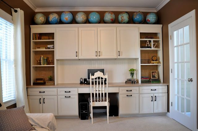 Chic Office Desk And Cabinets Using One Wall For A Home Office Desk Plus Storage Cabinets