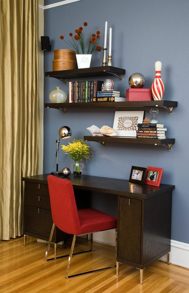 Chic Office Desk With Shelves Above Floating Shelves Above Desk Home Office Contemporary With Dark