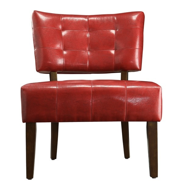 Chic Red Leather Accent Chair Charlotte Faux Leather Armless Accent Chair Inspire Q Classic