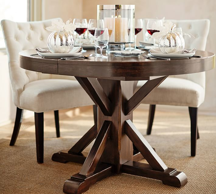 Chic Round Extendable Dining Table Benchwright Extending Pedestal Dining Table Alfresco Brown