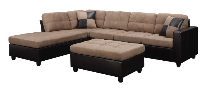 Chic Sectional Sofa With Ottoman Coaster 505675 Mallory Tan Reversible Sectional Sofa With Ottoman