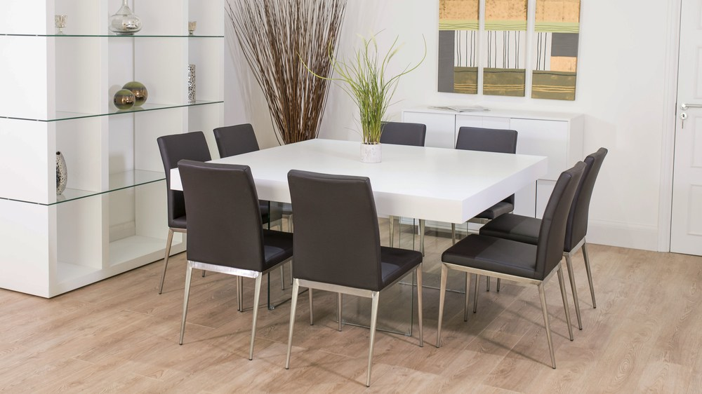 Chic Square White Dining Table Large Square White Oak Dining Table Trendy Glass Legs Modern