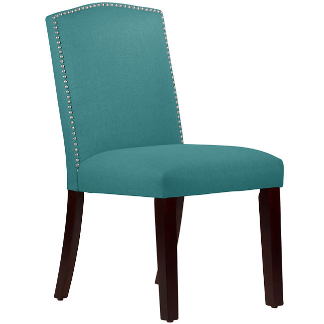 Chic Turquoise Leather Dining Chairs Liesel Upholstered Dining Chair With Nailhead Trim Everything