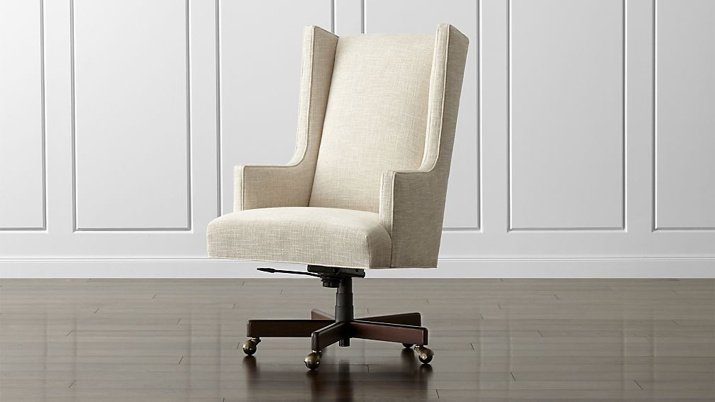 Chic Upholstered Office Chair Neo Upholstered Wingback Chair Crate And Barrel