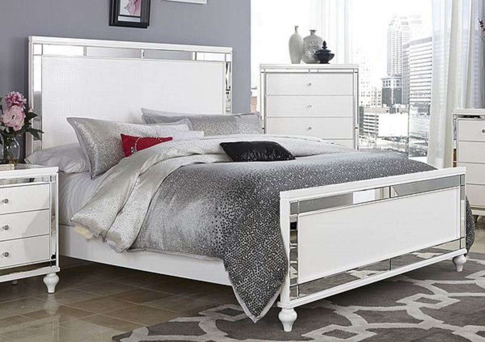 Chic White Backboard For Bed Glitzy 4 Pc White Mirrored King Bed Ns Dresser Mirror Bedroom