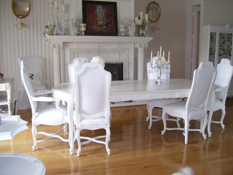 Chic White Cushioned Dining Chairs Dining Room White Dining Room Set With Curved Dining Chairs Made