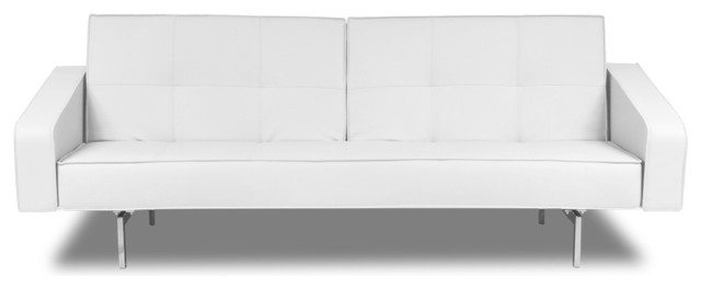 Chic White Leather Futon Sofa White Leather Sofa Home Furniture Ideas With White Leather Futon