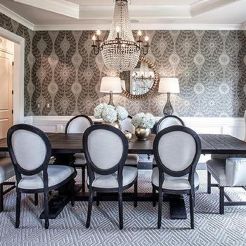 Chic White Round Back Dining Chairs Black And White French Round Back Dining Chairs Transitional