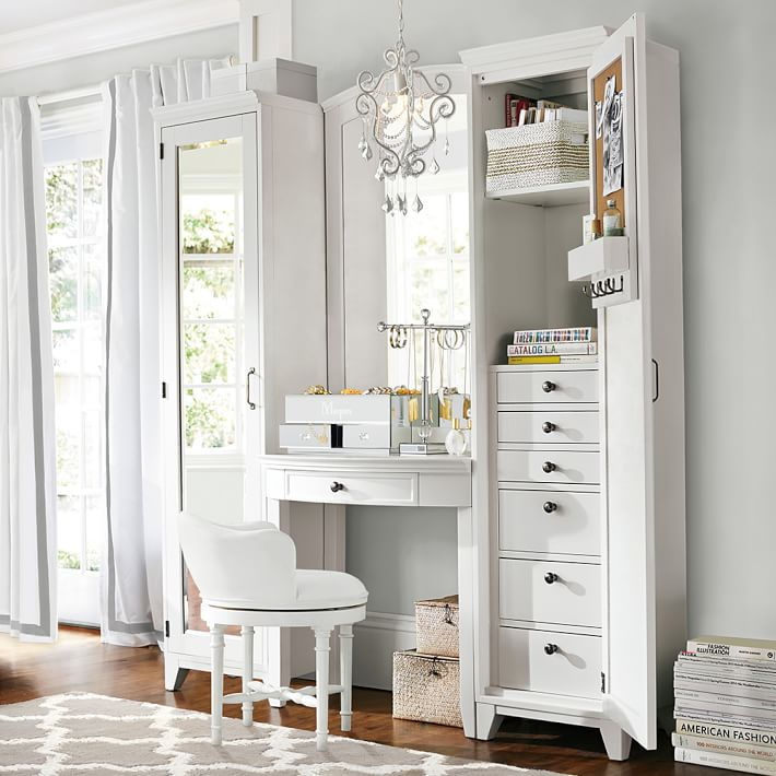 Chic White Vanity Desk With Mirror Hampton Vanity Tower Super Set Pbteen
