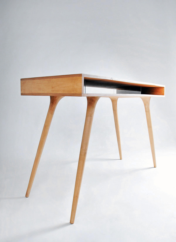 Chic Wood Desk Designs Dapper Davenport Yanko Design