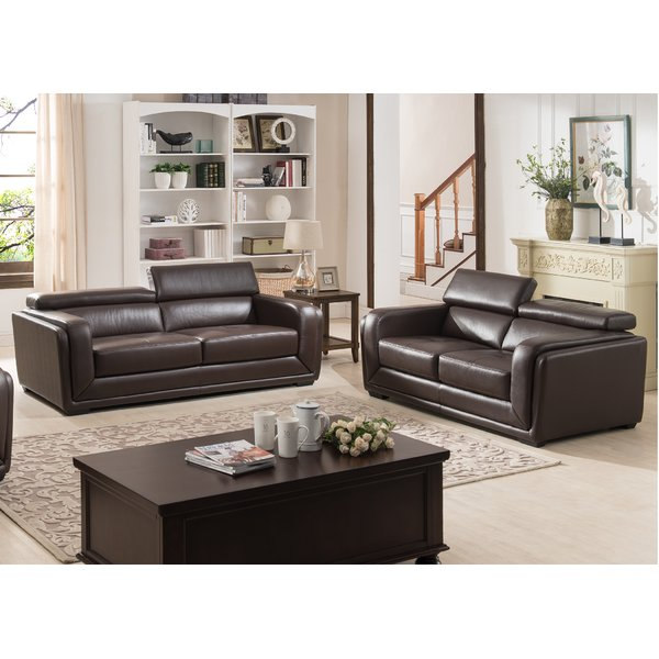 Creative of 2 Piece Leather Living Room Set Ac Pacific Calvin 2 Piece Leather Living Room Set Reviews Wayfair