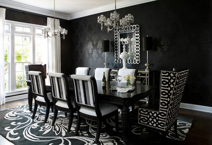 Creative of Black And Grey Dining Chairs Dining Room Attractive Black Dining Room Black Chrome Dining
