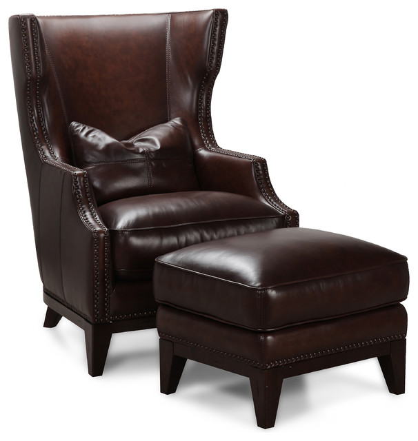 Creative of Brown Accent Chair With Ottoman Simon Li Antique Espresso Leather Accent Chair And Ottoman Set