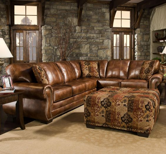 Creative of Brown Leather Couch With Studs Stylish Rustic Leather Sectional Sofa Distressed Leather Sofa