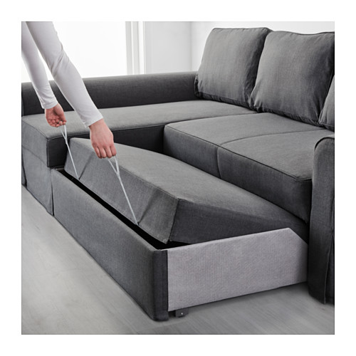 Creative of Chaise Longue Sofa Bed Backabro Sofa Bed With Chaise Longue Nordvalla Dark Grey Ikea