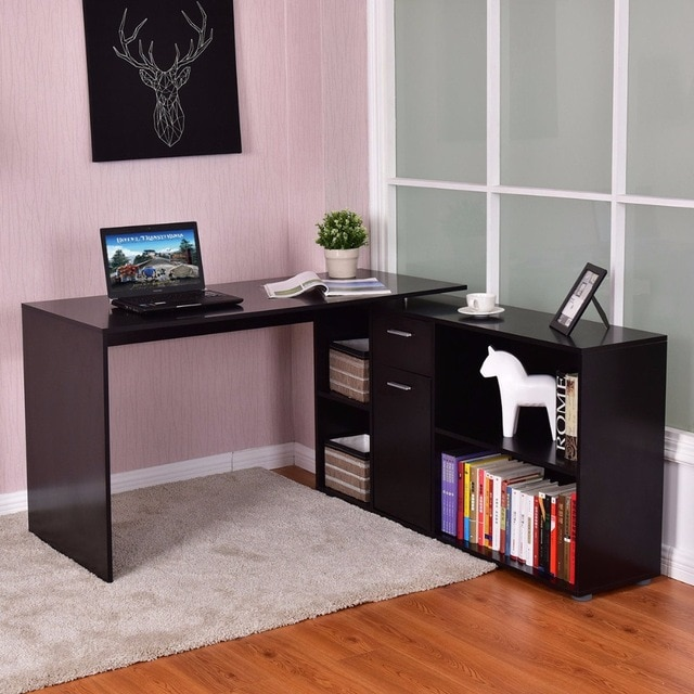 Creative of Corner Pc Desk Aliexpress Buy Goplus Rotating L Shape Computer Desk Corner Pc