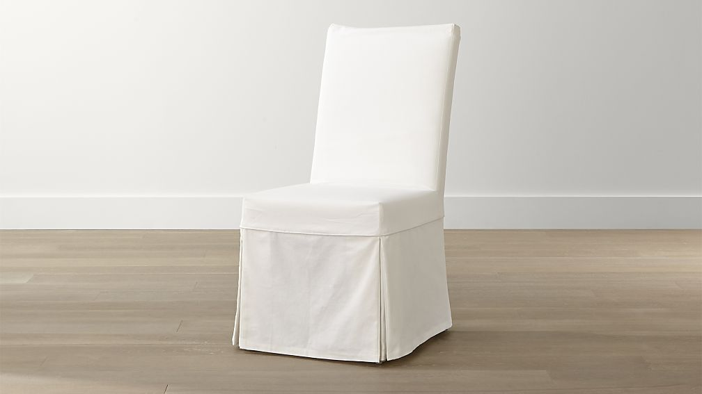 Creative of Covered Dining Chairs White Slipcover Only For Slip Side Chair Crate And Barrel