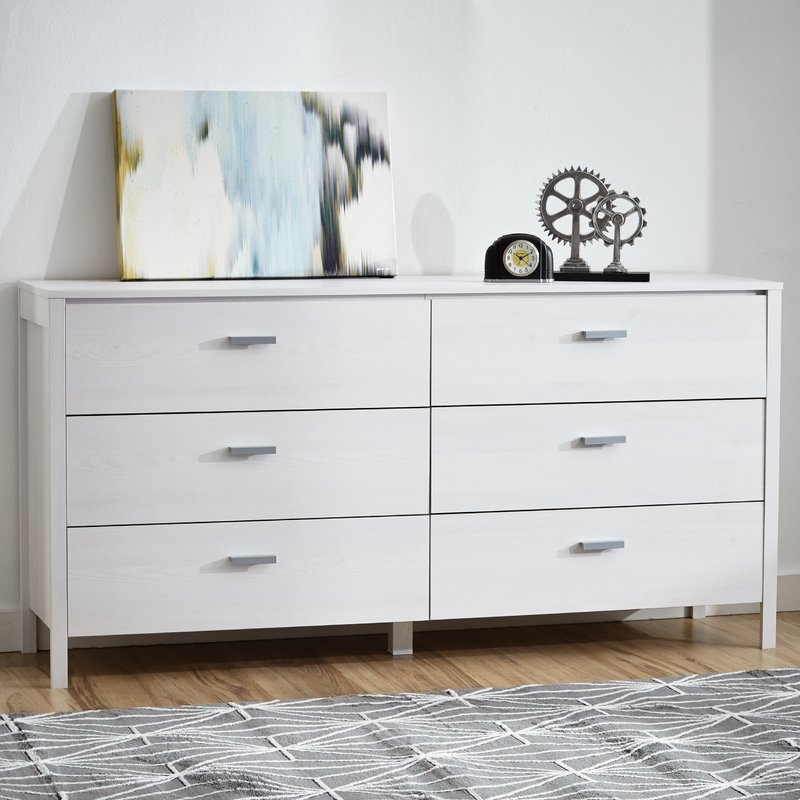 Creative of Double Chest Of Drawers Zipcode Design Lorraine 6 Drawer Double Dresser Reviews Wayfair