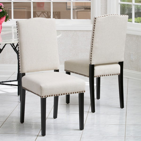 Creative of Fabric Dining Chairs Brunello Armless Studded Fabric Dining Chairs Christopher
