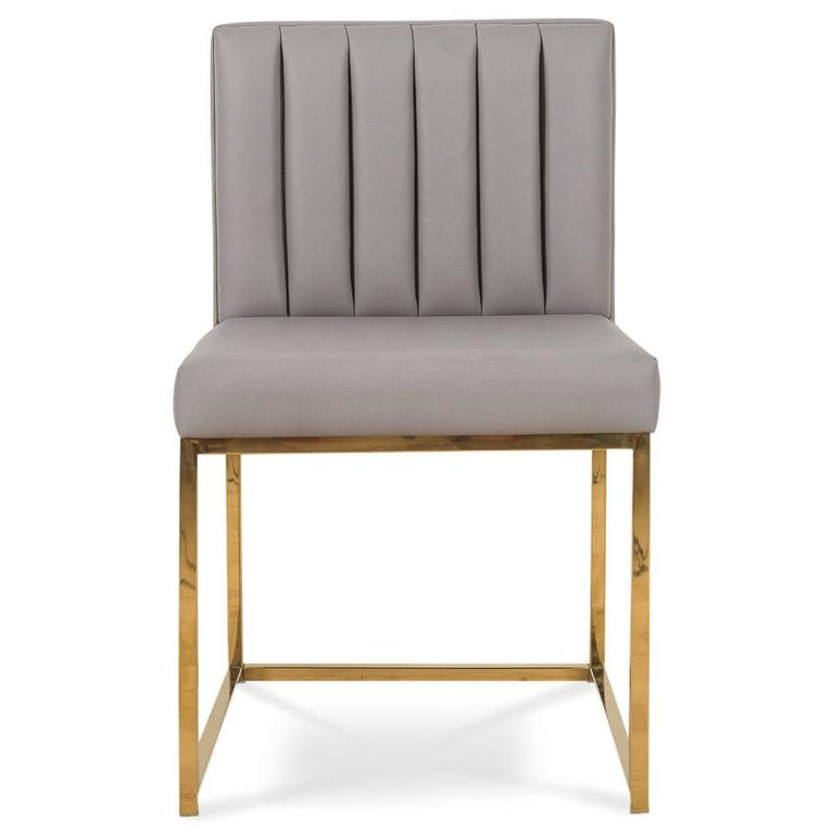 Creative of Faux Leather Dining Chairs Brass Modern Dining Chair In Faux Leather With Long Arm Tufting