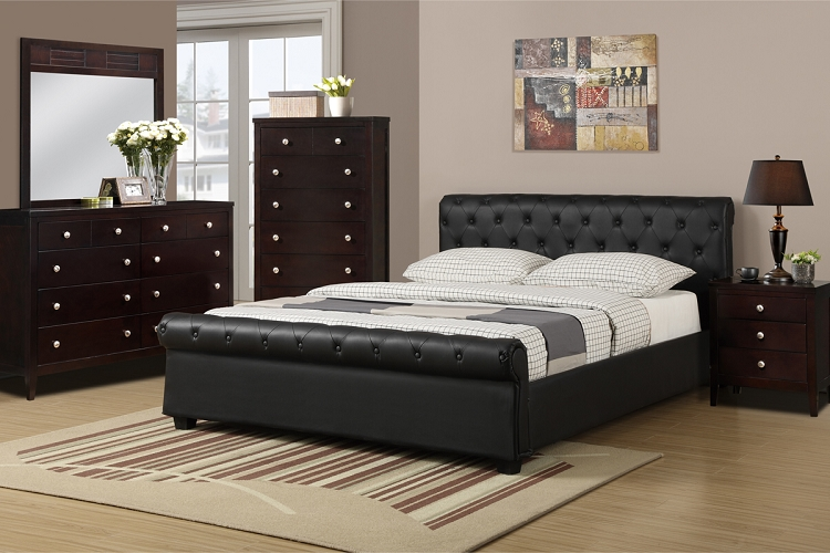 Creative of Full Bed And Dresser Set Black Scroll Tufted Design Full Size Platform Bed Night Stand