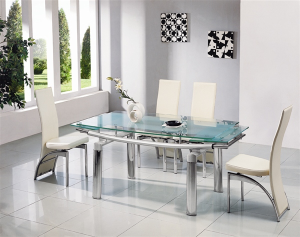 Creative of Glass Extendable Dining Table Set Enchanting Glass Extendable Dining Table And 6 Chairs 94 In Dining