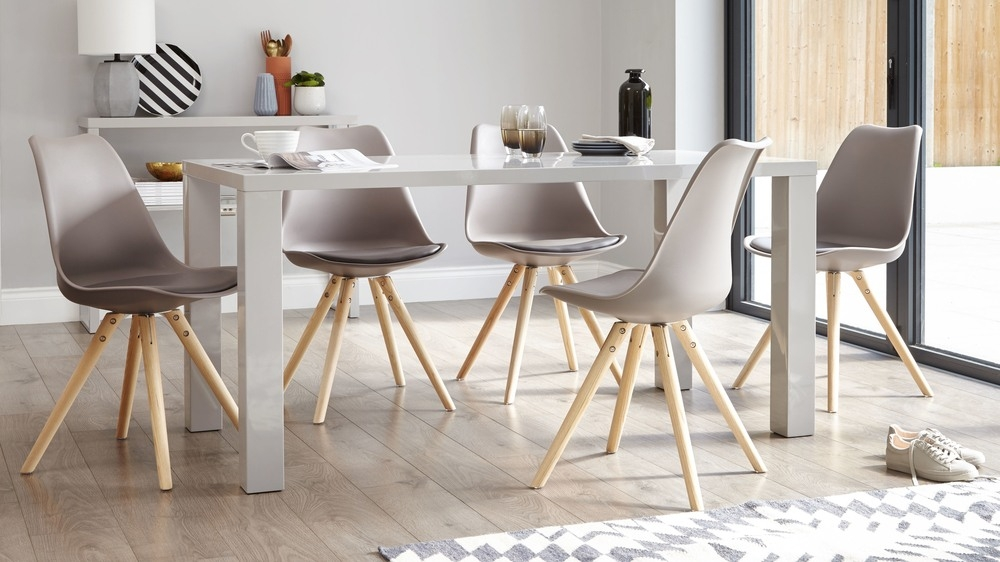 Creative of Grey And White Dining Chairs Dining Room Plastic Chair Pu Padded Seat Wooden Legs Uk Grey And