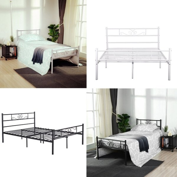 Creative of Headboard And Frame Set Shop Cheerwing Easy Set Up Premium Metal Bed Frame Platform Box
