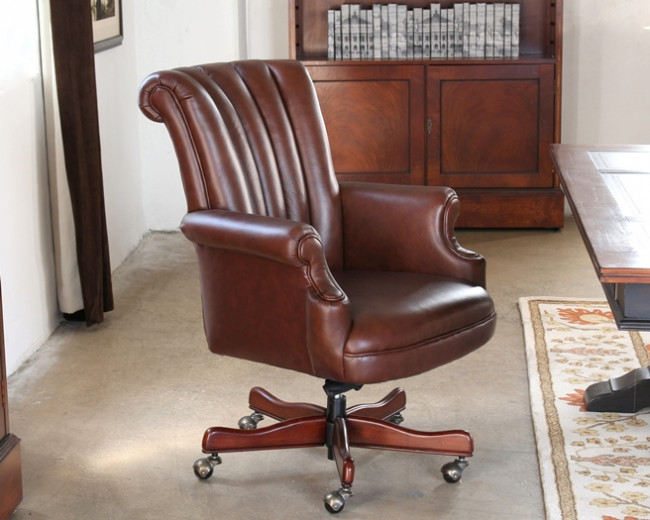 Creative of Leather Executive Chair Coffee Leather Channel Back Leather Executive Chair 4
